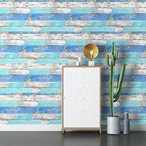 Image 3 - 45 センチメートル * 6 メートルヴィンテージフェイク木材の壁紙ビニール自己接着壁紙 3d リビングルームのためのデスク壁の装飾