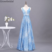 Erosebridal Blue Evening Dress 2020 New Design Floral Print Long Prom Dress A Line Party Gown Evening Beads Belt Open Back tribal print open back mini bodycon dress