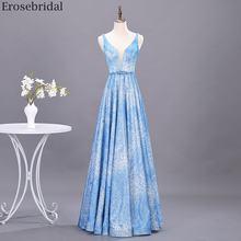 Женское вечернее платье с цветочным принтом erosebridal синее