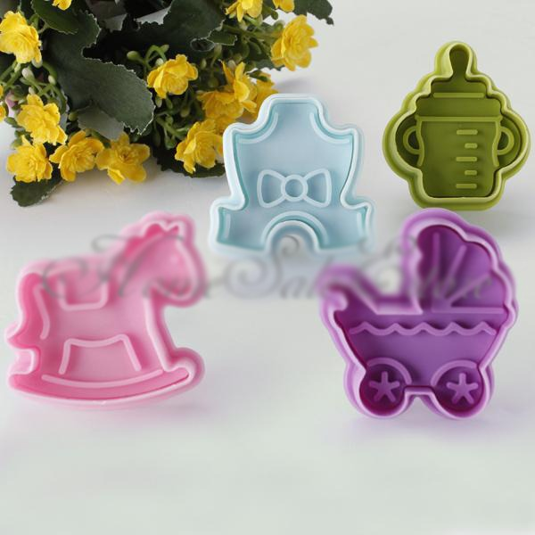 4Pcs Funny DIY Fondatn Cake Baby Toys Mold Cutter Sugar Cookie Decor Tool