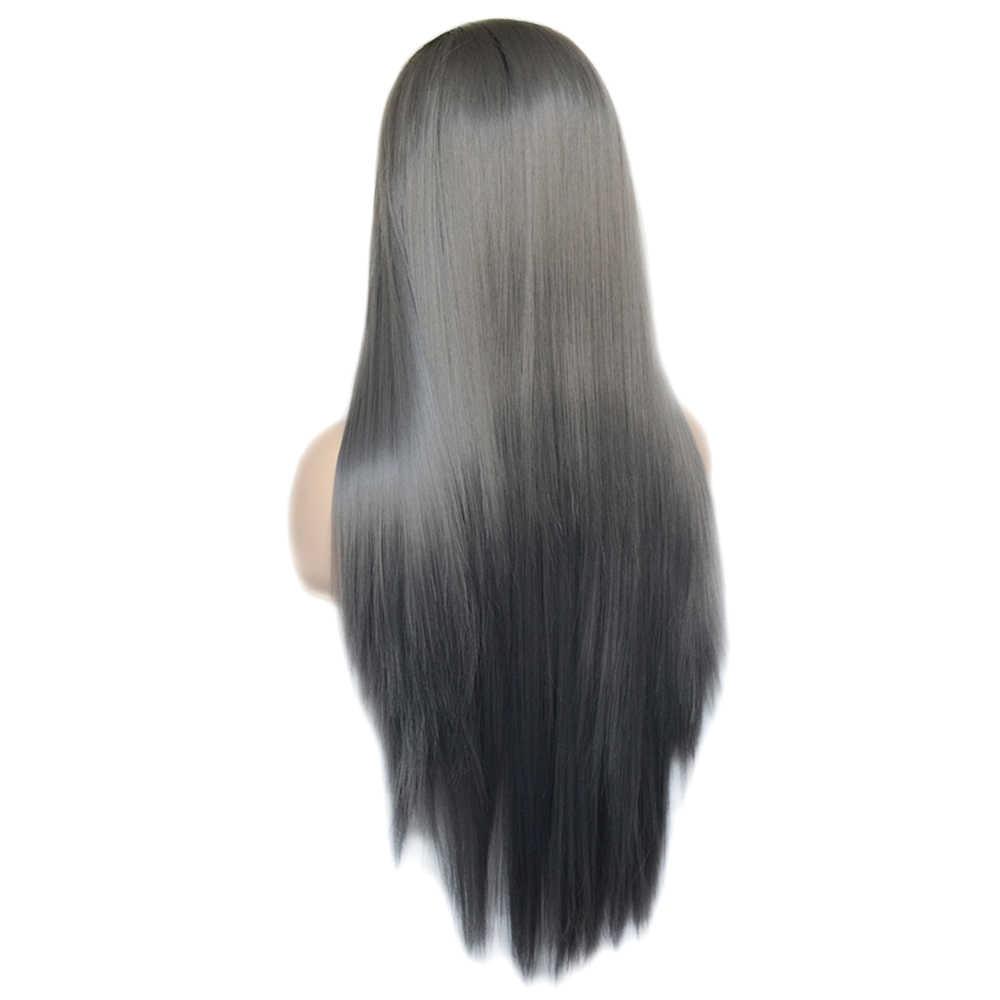 Vogue Koningin Two Tone Ombre Zwart Grijs Lange Rechte Synthetische Lace Front Pruik Natuurlijke Haarlijn Voor Vrouwen