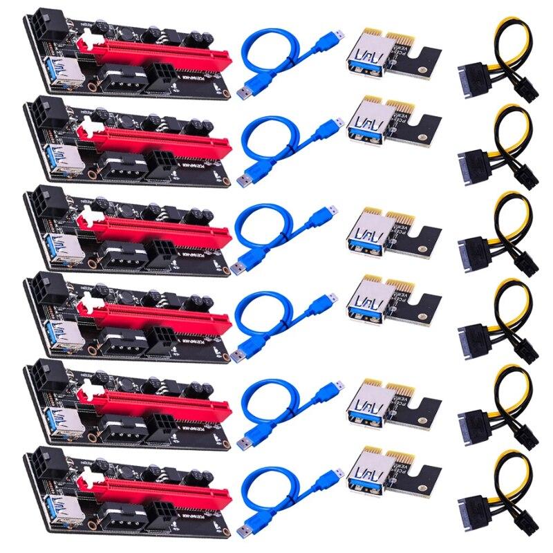 1, 6 штук в партии, новые VER009 USB 3,0 PCI-E VER 009S Экспресс 1X 4x 8x 16x удлинитель адаптер SATA 15pin до 6 Pin Мощность