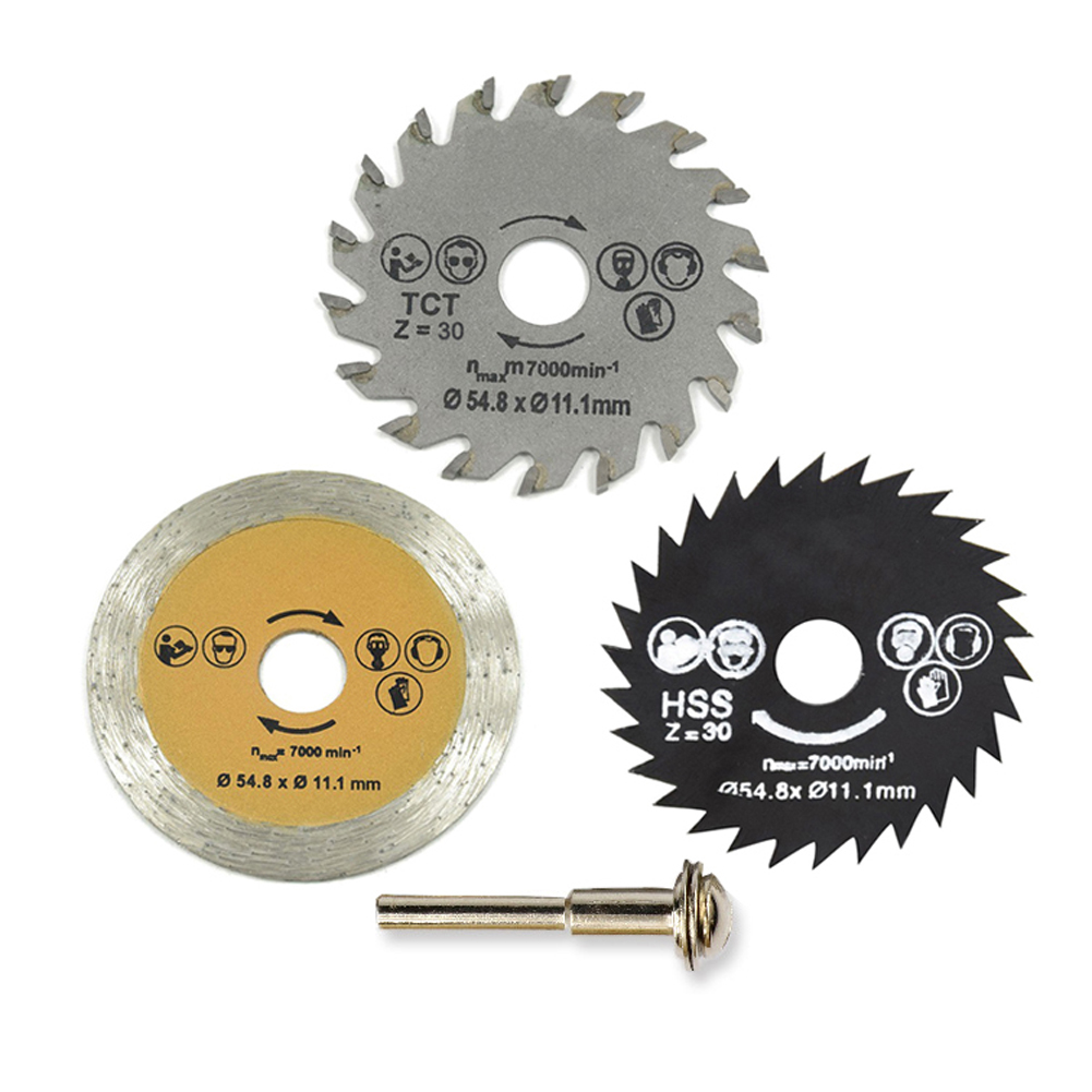 3Pcs Saw Blade High Speed Steel  54.8mm Mini Wood Circular Saw Blade Set  Cutting Blade Rotary Tool With Mandrel  11.1mm