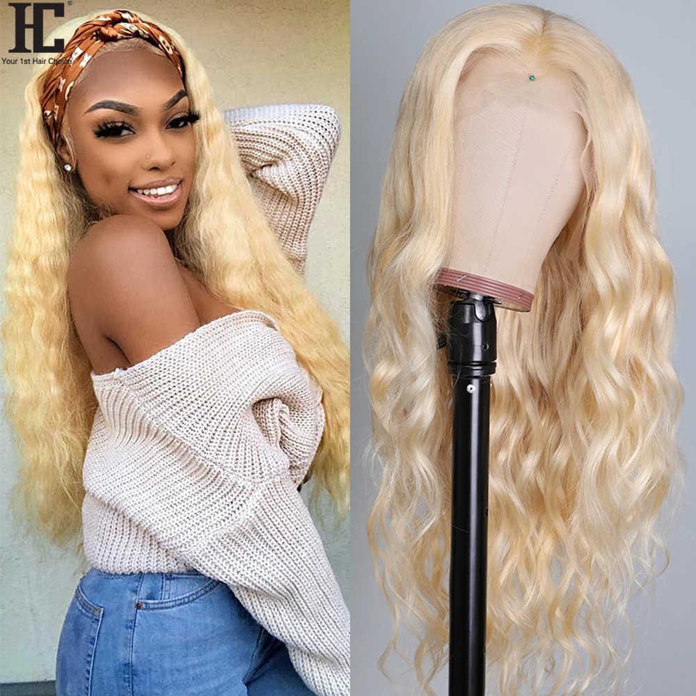 Glueless 613 blond koronki przodu włosów ludzkich peruki z dziecięcymi włosami 150% brazylijski naturalne fale 13x4 przezroczyste koronki przodu peruki Remy