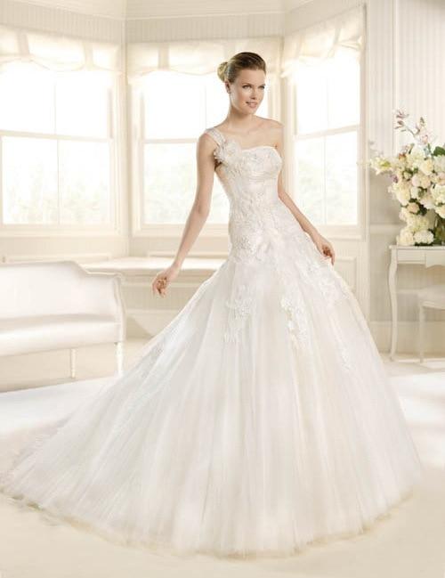 Hot Sale Elegant A-Line Querida Um Ombro Apliques Organza Vestidos De Casamento Nupcial Vestido Feito Sob Medida Wedding Dresses