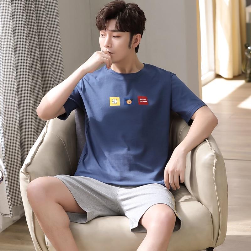 NANJIREN Mens Pajamas Set Summer Home Casual Navy Color Short Sleeves O-NECK Shirt Shorts Pajamas Set for Men Cartoon Sleep Wear