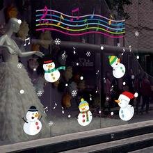 Мультяшная музыка маленький Снеговик настенный стикер для детской