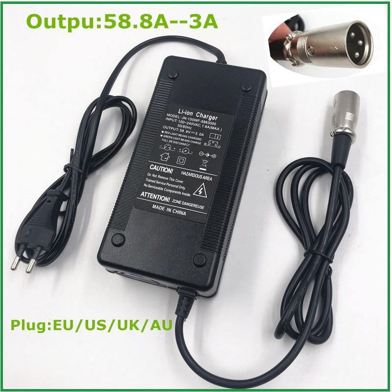 58.8V3A Charger  58.8v 3A  Electric Bike Lithium Battery  Charger For 48V Lithium Battery Pack  XLR Plug  58.8V3A Charger