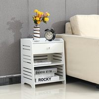 Modern Simple PVC Nightstand Bedside Table With Drawer Organizer Storage Cabinet Fashion Mini Desk Bedroom Furniture With Gloves