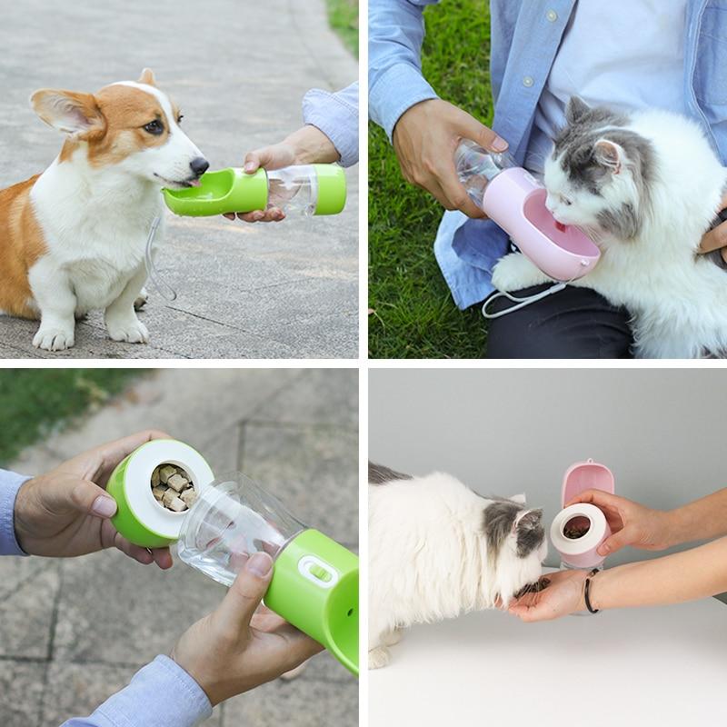 HOOPET Pet Dog Water Bottle Feeder Bowl Portable Water Food Bottle Pets Outdoor Travel Drinking Dog