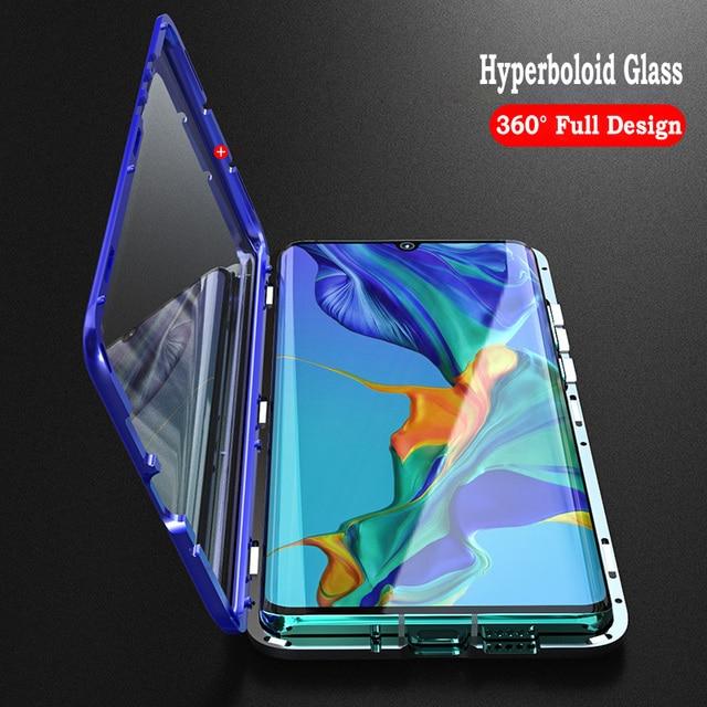 マグネットカバーhuawei社P30 プロケースクリアー 360 ガラスアルミニウム金属磁気ケースhuawei社メイト 20 プロフロントバックガラスシェル