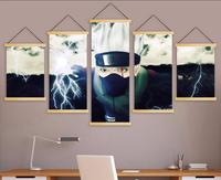 Canvas Wall Artwork Print Home Decoration Poster 5 Panel Naruto Animation Modern Nordic Style Solid Wood Hanging Scroll Painting
