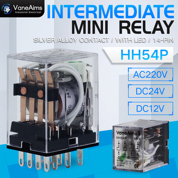 MY4P HH54P MY4NJ Relay Coil General DPDT Micro Mini Electromagnetic Relay Switch with Socket Base LED AC 110V 220V DC 12V 24V недорого