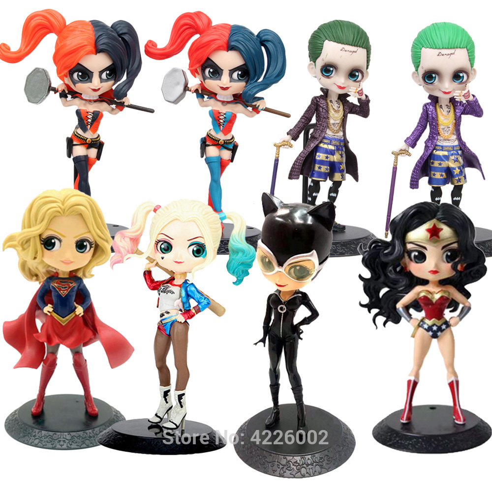 Q Posket Harley Quinn The Joker Superhero PVC Action Figure Wonder Woman Catwoman Anime Figurines Collectible Dolls Kids Toys