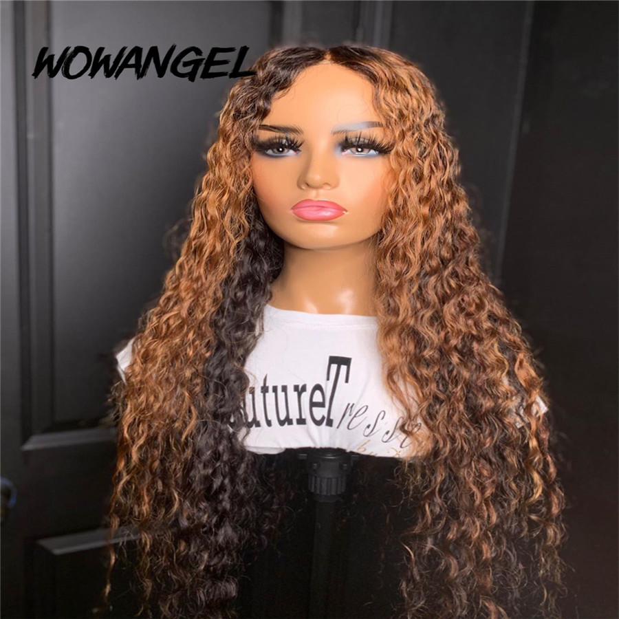 Wowangel Ombre Highlight Curly Lace Front Human Hair Wigs Pre Plucked Hairline Remy Peruvian Bleached Knots Curly Human Hair Wig