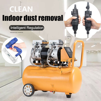 Pequeño compresor de aire de pistón sin aceite bomba de aire silenciosa con tanque para pintura en aerosol/Carpintería/PISTOLA DE PULVERIZACIÓN/pistola de Clavo recto