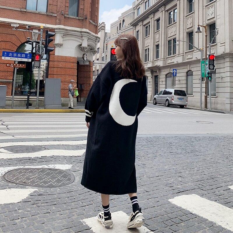 Women Long Casual Knitting   Trench   Coat Woman Open Stich Moon Pattern Windbreaker Fall Plus Size Coats