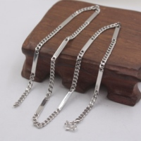 Real S925 Silver Necklace Men Women's Chain 3mm Smooth Curb Link 18''L Necklace