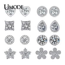 UMODE Brand Top Quality 8mm 2 Carat AAA+ CZ Diamond Stone Post Stud Earrings For Women Brincos Party Jewelry  UE0013