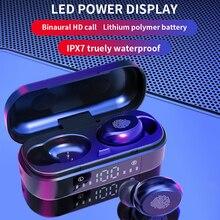 Tws bluetooth 5.0 fones de ouvido sem fio 9d baixo estéreo esportes à prova dwaterproof água fone com microfone 350 mah caixa carregamento