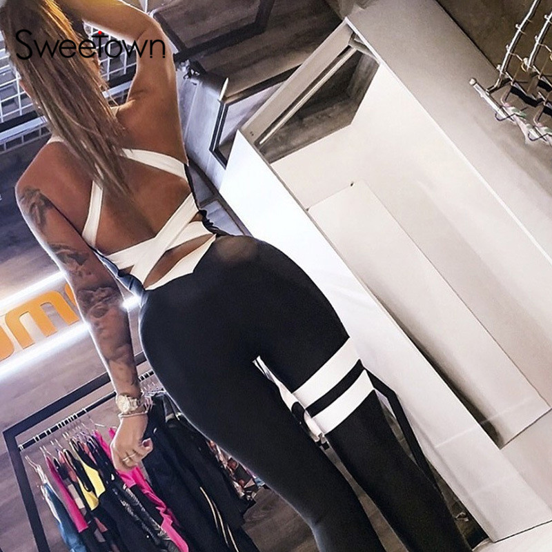 Sweetown Cross Hollow Out Sexy Workout Jumpsuit Women Activewear Striped Body Mujer Rompers Female Fitness One Piece Tracksuit