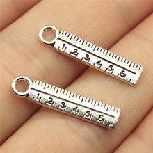 WYSIWYG 20 pièces 24x5mm règle droite pendentifs à breloque fabrication de bijoux fournitures scolaires pendentif breloques Makings