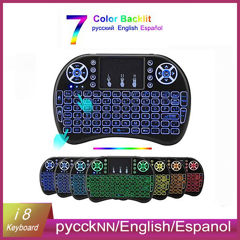 i8 Mini Wireless Keyboard 2.4GHz English Russian 3 Color Touchpad Remote Control 7 Color Backlight Android TVBox