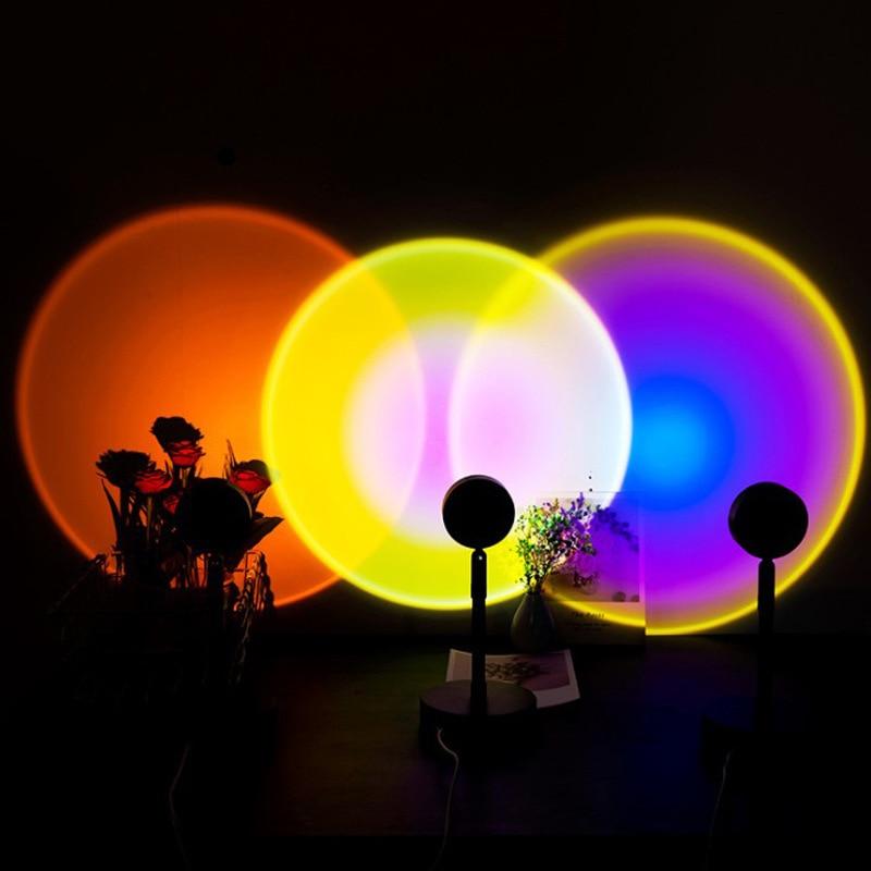 USB Кнопка Rainbow Sunset проектор атмосфера светодиодный ночной Светильник домашний кофе магазин фон украшение стены красочные светодиодные ламп...