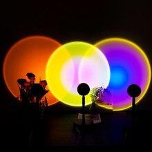 Botão usb arco-íris pôr do sol projetor atmosfera led night light casa coffee loja fundo decoração da parede lâmpada colorida