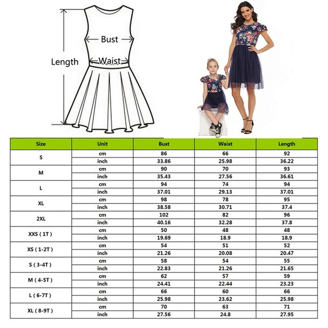 2020 Mother Daughter Dresses Short Sleeve Floral Short Dress Family Clothes Mom Daughter Princess Dress Family Matching Clothes 2