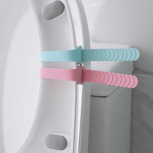 1PC Portable siège de toilette couverture Lifter pliable Silicone toilette Closestool siège poignée sanitaire siège couverture dispositif de levage