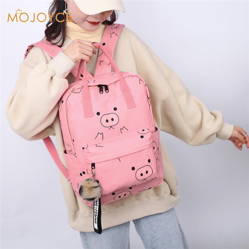 Cute Pig Print Backpack Waterproof Women Casual Travel Shoulder Bag Teenage Girls Student School Big Bagpack Rucksacks