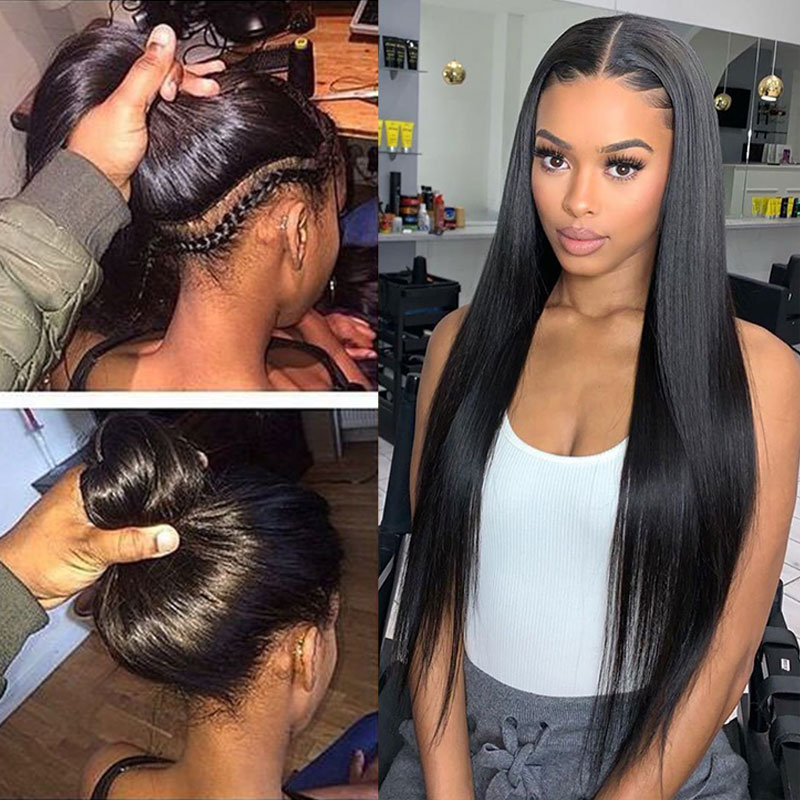 Straight HD Transparent Glueless Full Lace Human Hair Wigs 250 Density Pre Plucked Brazilian 30 Inch Full Lace Wig Ever Beauty