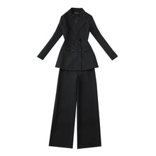 Women's elegant professional office pants suit Temperament Feminine Blazer Slim high-rise wide-leg pants New in 2020(China)
