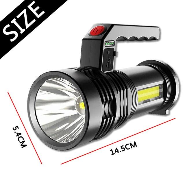 Portable Powerful LED Flashlight Portable Mini Searchlight P500 Torch USB Rechargeable Waterproof Spotlight for Fishing Lantern 2