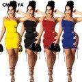 CM.YAYA Frauen Eine Schulter Lace Up Side Aushöhlen Sexy Midi Mini Kleid für Sexy Nacht Party Kordelzug Tie Up bodycon Kleider
