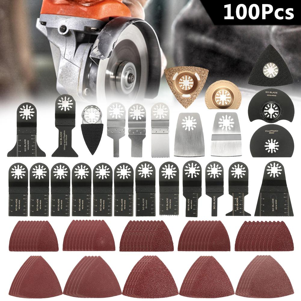 100pcs/set Oscillating Saw Blades Sanding Papers Multi Tool Kit Accessories Multifunction Oscillating Blades Tools