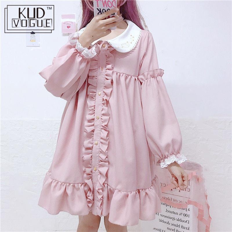 Lace Embroidery Doll Ruffles Lolita Dress Women Vintage Pink Dress Japanese Harajuku Ulzzang Female Korean Kawaii Cute Clothing