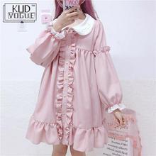 Muñeca bordada de encaje volantes Lolita vestido de las mujeres Vintage vestido rosa Harajuku japonés Ulzzang Kawaii Coreano femenina ropa linda