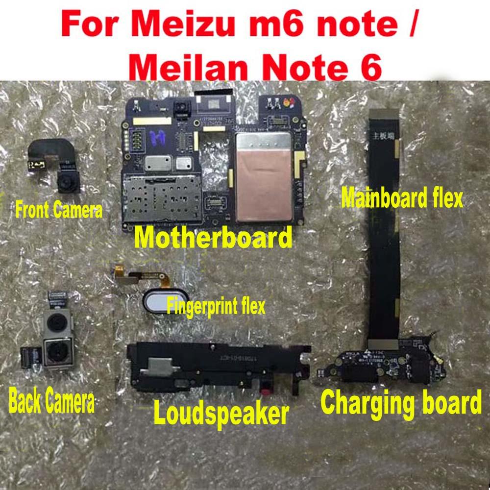 Original Front Rear Back Camera Motherboard Flex Cable For Meizu M6 Note / Meilan Note 6 Charging Board Fingerprint Loudspeaker