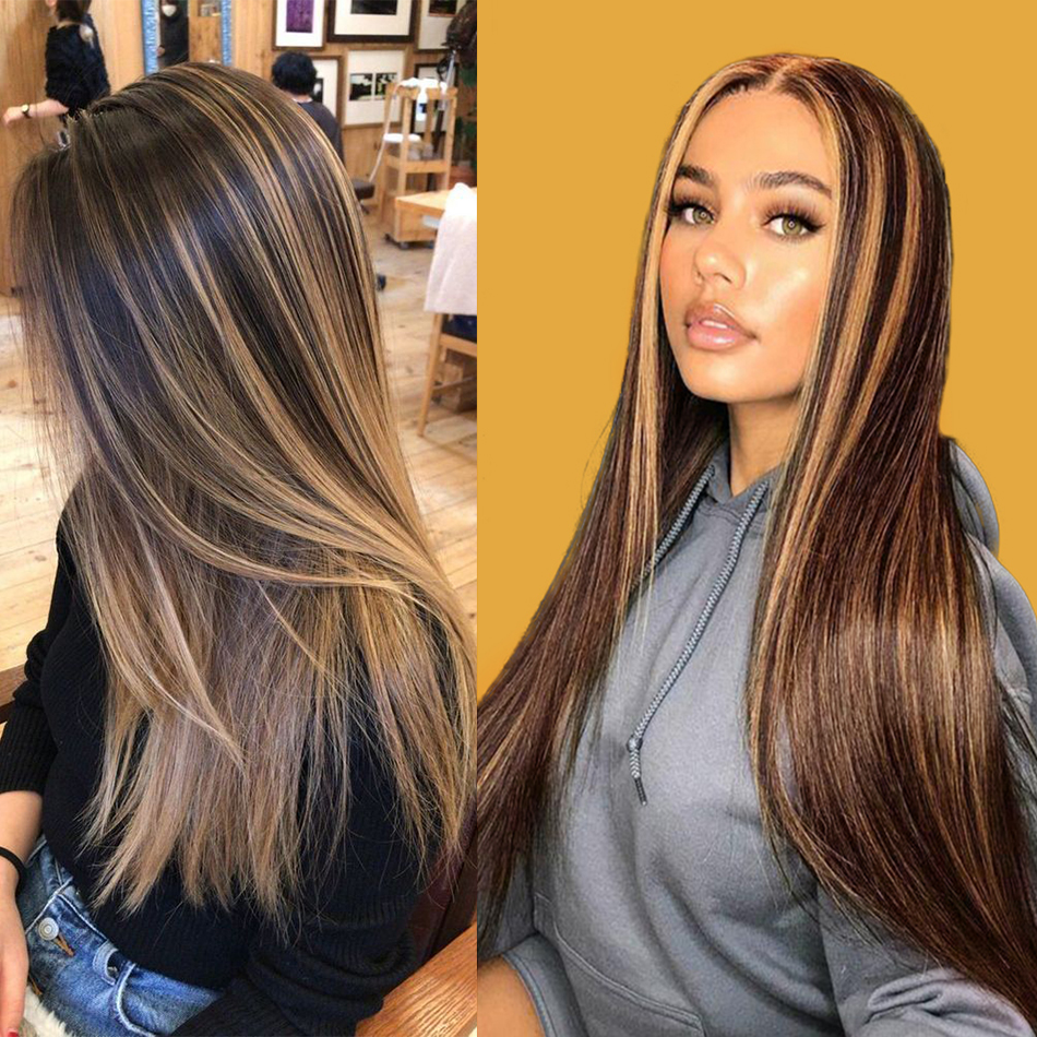 Ombre Highlight Wig Brown Honey P4/27 Colored Swiss 13x4X1 Lace Front  Wigs Straight  Highlight Bundles Lace Wigs 1