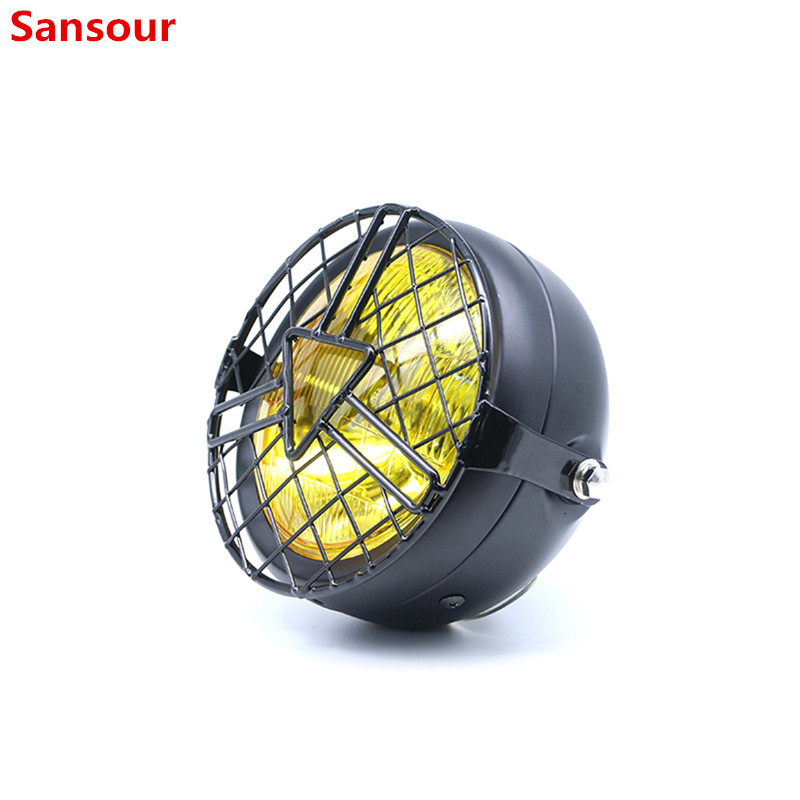 Universal Motorcycle Head Lamp Lampshade Grill Cover Retro Vintage Bracket Mask Mount Headlight for Harley Cafe Racer Bobber|  - title=