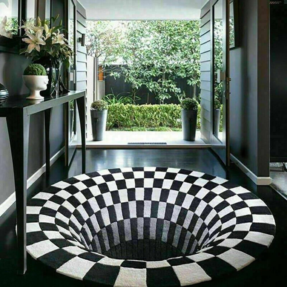 D-coration-de-la-maison-salon-couloir-tapis-noir-blanc-grille-impression-3D-Illusion-Vortex-sans