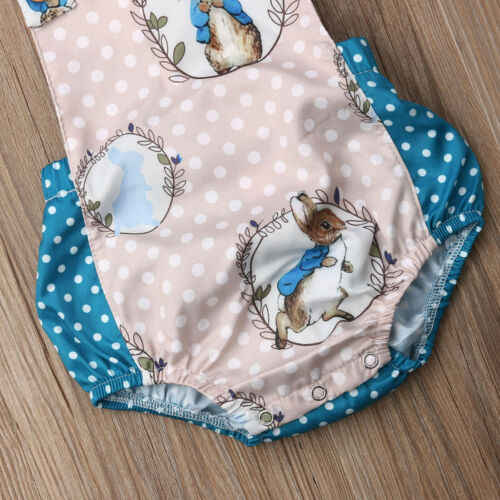 Fashion Newborn Infant Baby Romper Boys Girls Sleeveless Easter Bunny Romper  Jumpsuit Outfits Set