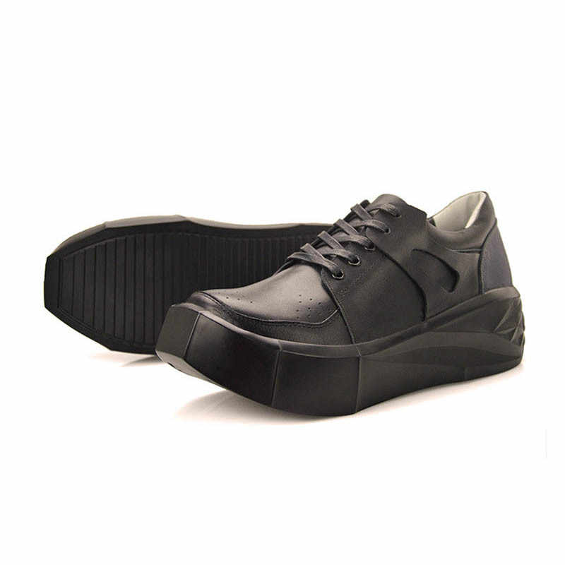 2020 Fashion Echtes Leder Schuhe Männer Atmungs Pumpen Verdicken Ferse Mans Schuhe Hohe Qualität Lace Up Komfort Casual Zapatos