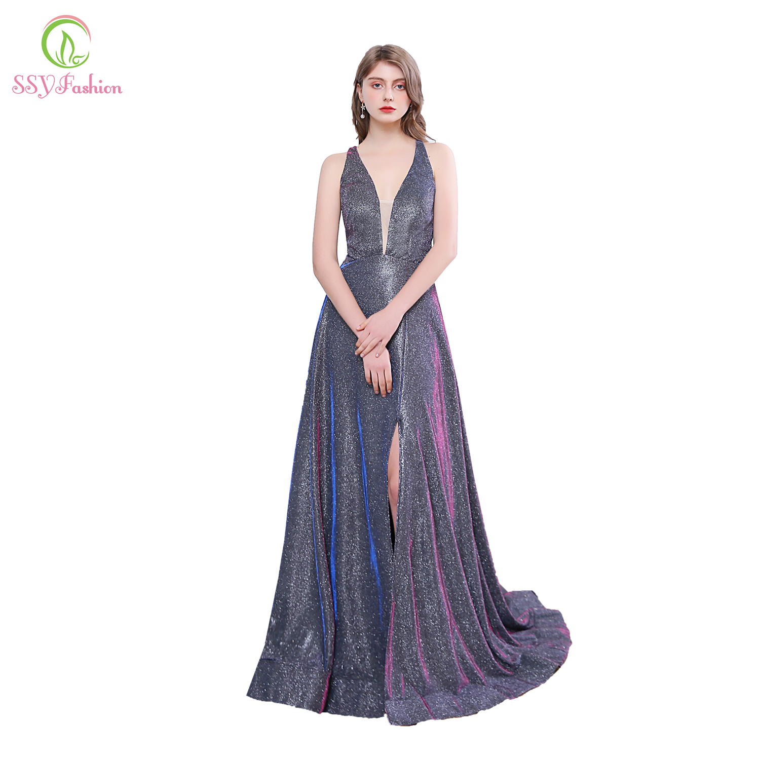 SSYFashion New Banquet Sparkling Evening Dress Sexy Gradient Blue Purple Backless Sweep Train Long Prom Formal Gown Vestidos