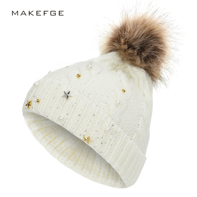 2019 New Stars Diamond Knit Hat Solid Color Pom-pom Ladies Cotton Hat Winter Warm Casual High Quality Fluffy Hat Woman Peas
