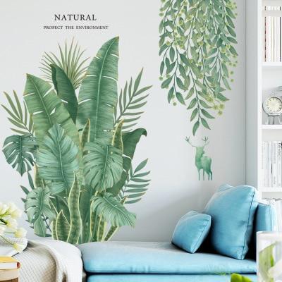 Tropical Plant Leaves Wall Sticker Home Decor Children/'s Room Nordic Rainforest