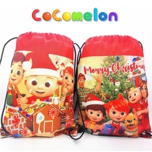 Cocomelon Christmas Bag Waterproof Nylon Backpack Goodie Favor Drawstring Birthday Supply Baby