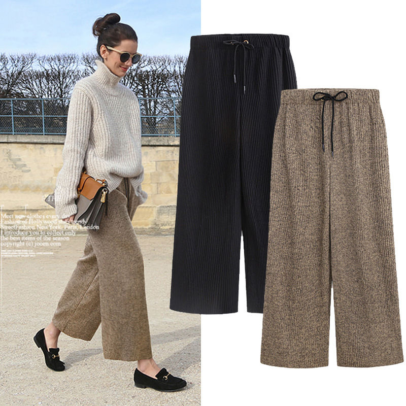 Winter Woolen Pleated Pants Women 2019 Elastic Waist Loose Pants Women For Autumn Black Wide Khaki Pants Ankle-Length Pants